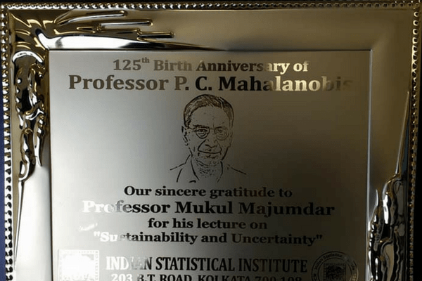 Commemorative Plaque for Majumdar's participation in the series of scientific events happening in honor of Mahalanobis.
