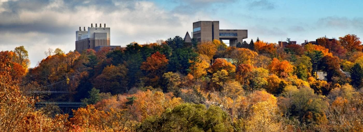 The Johnson Museum sits atop a bed of fall colors blanketing East Hill